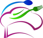 厨师帽子匙子叉子 免版税库存图片