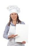 厨师微笑的妇女 免版税库存图片