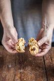 厨师打破面包 免版税库存照片