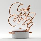 厨师是与罐现代3D翻译的艺术行情 库存照片