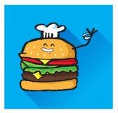 厨师显示拇指的汉堡包字符 图库摄影