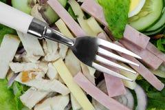 厨师沙拉有叉子关闭视图 免版税库存图片