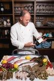 厨师海鲜餐馆分类概念 免版税库存照片