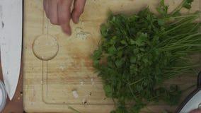 厨师特写镜头递切细在磨丝器的大蒜和美好砍荷兰芹 股票视频