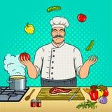 厨师玩杂耍与菜流行艺术传染媒介 向量例证
