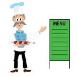 厨师的例证,烤肉,菜单 图库摄影