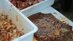 厨师的手特写镜头切烤肉串的肉成片断 股票录像