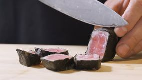 厨师裁减每金枪鱼排-在盘子分开油煎在芝麻和安置的生鱼片片断  股票视频