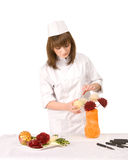 厨师装饰女孩花瓶 免版税库存照片
