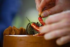 厨师装饰蛋糕用果子 库存图片