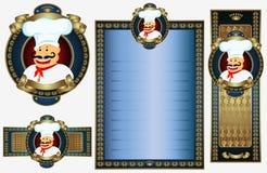 厨师豪华菜单皇家样式 免版税库存照片