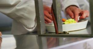 厨师队特写镜头装饰盘的  影视素材