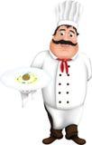 厨师,作为ratatouille调味汁餐馆板材 库存照片
