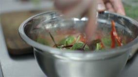 厨师活泼的菜沙拉用海鲜 烹调菜沙拉用海鲜的厨师 股票录像