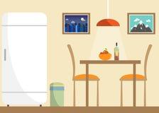 厨房与家具和器物的传染媒介内部 平的最小的例证 免版税库存图片