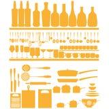 厨房元素剪影象被隔绝的 库存例证
