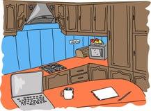 厨房内部剪影 免版税库存照片