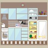 厨房内部平的设计 免版税库存图片