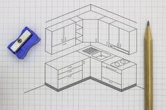厨房剪影 免版税库存图片