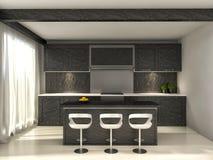 黑厨房和一张餐桌 3d例证 库存例证