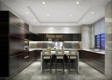 厨房和饭厅设计一个有组织的整体在上海,高级公寓 库存图片