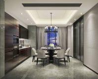 厨房和饭厅设计一个有组织的整体在上海,高级公寓 图库摄影