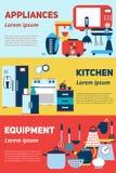 厨房器具和设备平的横幅、集合与被隔绝的例证,为了销售和advertisingorporate设计, 免版税库存照片
