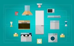 厨房器具的色的平的象 免版税库存照片