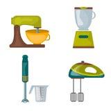 厨房器具食品加工器厨具搅拌器电手的搅拌器,设备传染媒介 免版税图库摄影