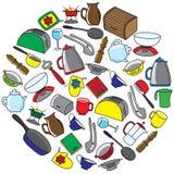 厨房器物五颜六色的传染媒介集合 图库摄影
