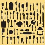 厨房器物剪影传染媒介 免版税图库摄影