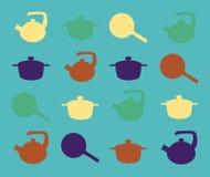 厨房器物剪影在绿松石背景的 免版税库存图片