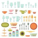 厨房器物和被设置的炊具象 免版税库存图片