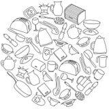 厨房器物圆的集合 免版税图库摄影