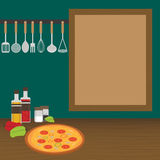 厨房器物在墙壁上称在厨房里 库存图片