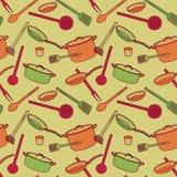 厨房器物的样式在动画片样式的 免版税库存照片