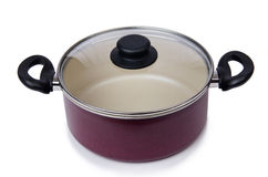 厨房器物被隔绝的平底锅罐 免版税图库摄影