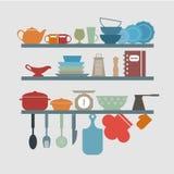 厨房器物象 向量例证
