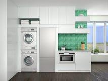 厨房室内设计有洗衣机的 向量例证