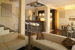 厨房居住的现代空间 免版税库存照片