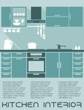 厨房平的室内设计模板 免版税库存图片