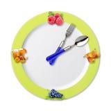 厨房时钟用果子 免版税库存图片