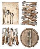 厨房板、年迈的纸、古色古香的厨房器物和葡萄酒 库存照片
