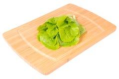 厨房板whith沙拉(裁减路线) 库存图片