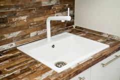 厨房水槽的照片 免版税库存照片