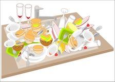 厨房水槽 肮脏的盘填装水槽 碗,杯子,匙子,叉子,玻璃在堆落下了 洗涤是必要的 皇族释放例证