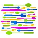 厨房汇集色的象商标标志例证 免版税库存图片