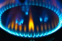 厨房煤气喷燃器火焰 免版税库存图片