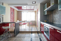 厨房现代新 免版税库存照片