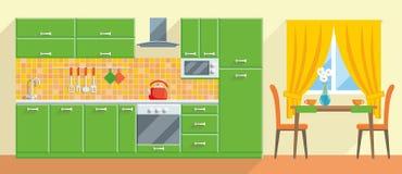 厨房现代内部和家具传染媒介 库存图片
